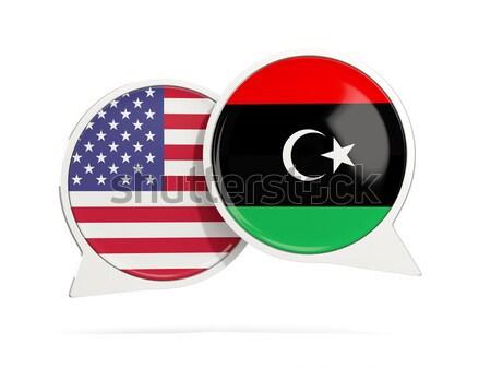 Chat pęcherzyki USA Libia odizolowany biały Zdjęcia stock © MikhailMishchenko