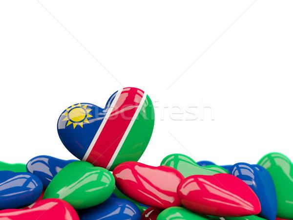 Kalp bayrak Namibya üst kalpler yalıtılmış Stok fotoğraf © MikhailMishchenko