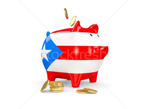 Fat piggy bank with fag of puerto rico Stock photo © MikhailMishchenko