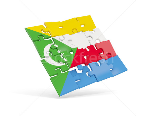 Puzzle flag of comoros isolated on white Stock photo © MikhailMishchenko