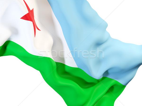 Banderą Dżibuti 3d ilustracji podróży Zdjęcia stock © MikhailMishchenko