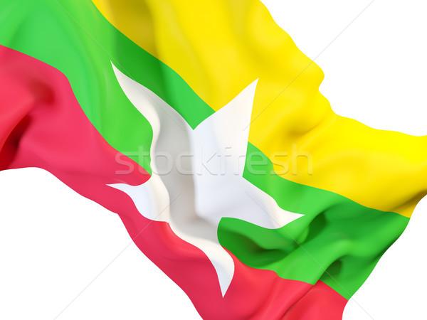 Integet zászló Myanmar közelkép 3d illusztráció utazás Stock fotó © MikhailMishchenko
