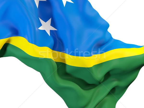 Bandiera Isole Salomone primo piano illustrazione 3d viaggio Foto d'archivio © MikhailMishchenko