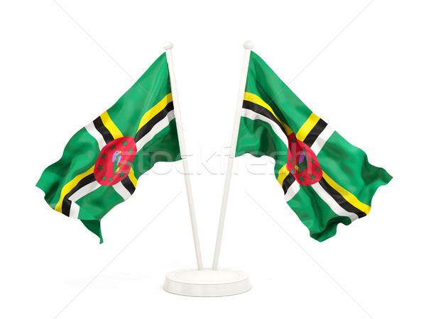 два флагами Доминика изолированный белый Сток-фото © MikhailMishchenko