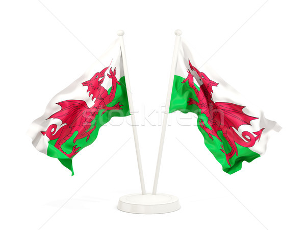 Two waving flags of wales Stock photo © MikhailMishchenko