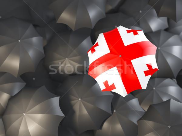 Esernyő zászló Grúzia felső fekete esernyők Stock fotó © MikhailMishchenko