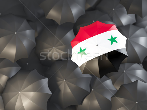 Paraplu vlag Syrië top zwarte parasols Stockfoto © MikhailMishchenko
