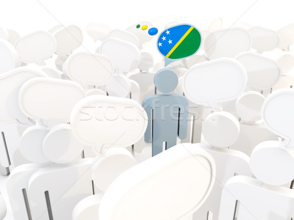 Man with flag of solomon islands in a crowd Stock photo © MikhailMishchenko