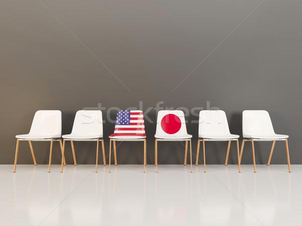 チェア フラグ 米国 日本 3次元の図 ストックフォト © MikhailMishchenko