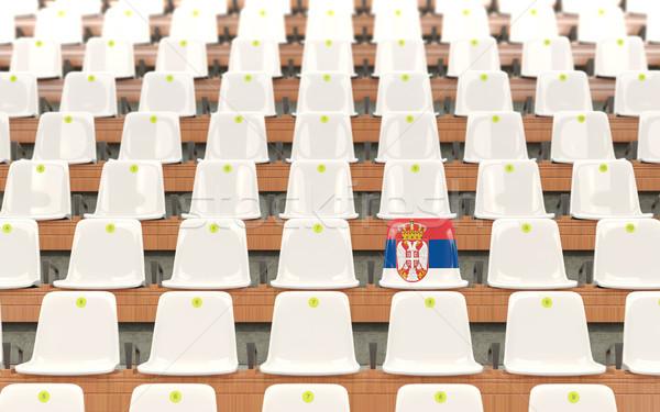 Stadyum koltuk bayrak Sırbistan beyaz Stok fotoğraf © MikhailMishchenko