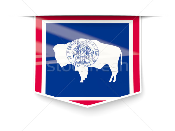 wyoming state flag square label with shadow. United states local Stock photo © MikhailMishchenko