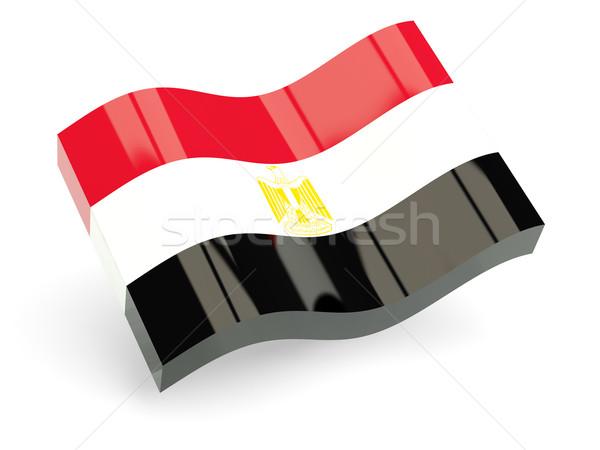 3D zászló Egyiptom izolált fehér hullám Stock fotó © MikhailMishchenko