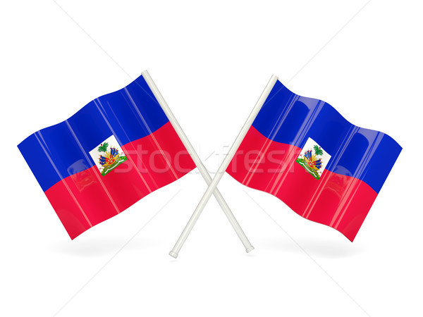 Pavillon Haïti deux ondulés drapeaux isolé Photo stock © MikhailMishchenko