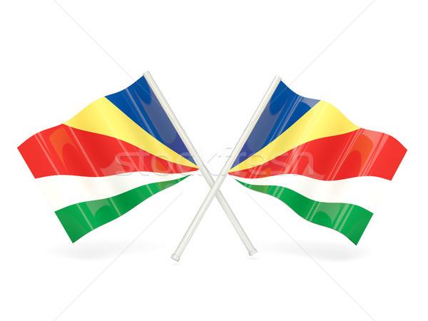 флаг Сейшельские острова два волнистый флагами изолированный Сток-фото © MikhailMishchenko