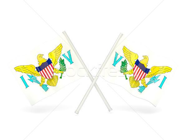 флаг Виргинские о-ва два волнистый флагами изолированный Сток-фото © MikhailMishchenko