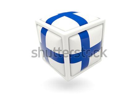 Stok fotoğraf: Bayrak · Yunanistan · küp · ikon · yalıtılmış · beyaz