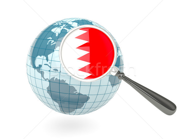 Bandeira Bahrein azul globo isolado Foto stock © MikhailMishchenko
