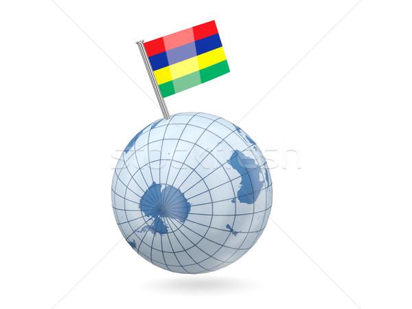 мира флаг Маврикий синий изолированный белый Сток-фото © MikhailMishchenko