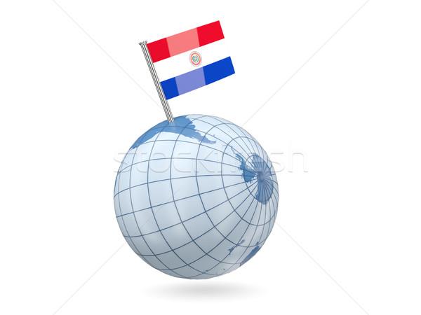 Földgömb zászló Paraguay kék izolált fehér Stock fotó © MikhailMishchenko