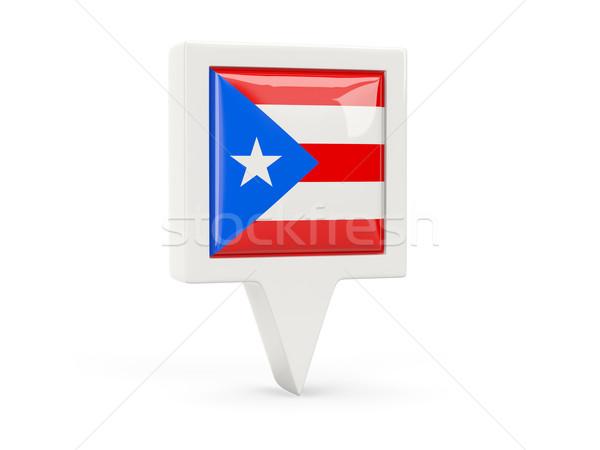 Vierkante vlag icon Puerto Rico geïsoleerd witte Stockfoto © MikhailMishchenko