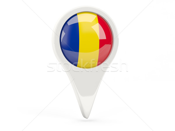 Round flag icon of romania Stock photo © MikhailMishchenko