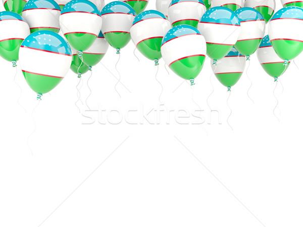 Léggömb keret zászló Üzbegisztán izolált fehér Stock fotó © MikhailMishchenko
