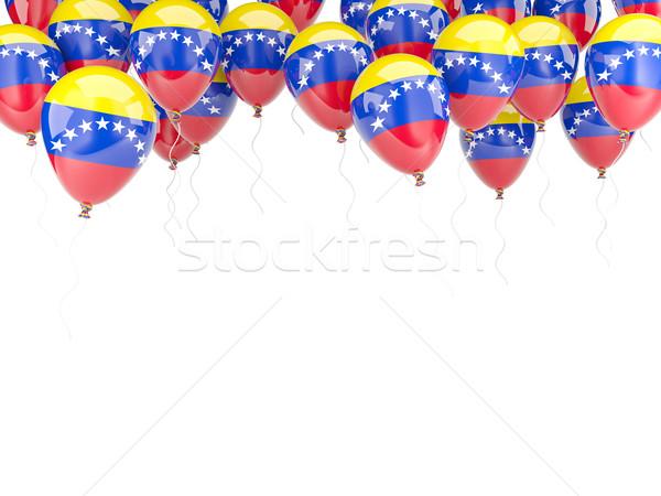 Balão quadro bandeira Venezuela isolado branco Foto stock © MikhailMishchenko