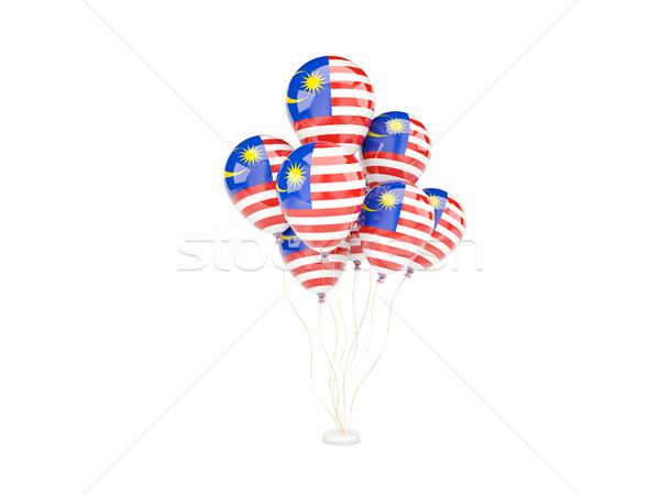 Repülés léggömbök zászló Malajzia izolált fehér Stock fotó © MikhailMishchenko
