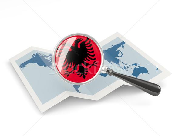 Magnified flag of albania with map Stock photo © MikhailMishchenko