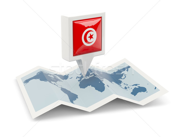 Kare pin bayrak Tunus harita seyahat Stok fotoğraf © MikhailMishchenko