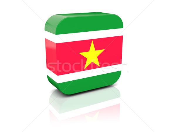 квадратный икона флаг Суринам отражение белый Сток-фото © MikhailMishchenko