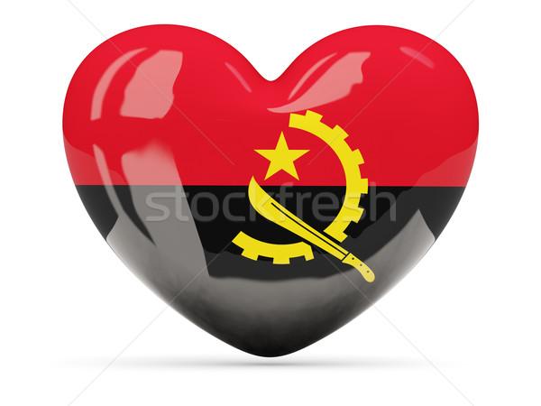 сердце икона флаг Ангола изолированный Сток-фото © MikhailMishchenko