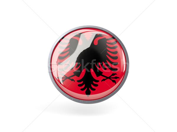 Icono bandera Albania metal marco viaje Foto stock © MikhailMishchenko