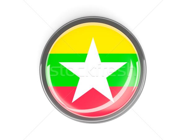 Botão bandeira Mianmar metal quadro viajar Foto stock © MikhailMishchenko