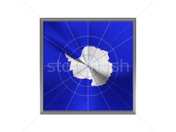 Square metal button with flag of antarctica Stock photo © MikhailMishchenko