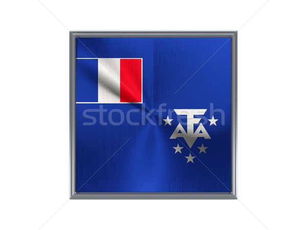 Stock photo: Square metal button with flag of french southern territories