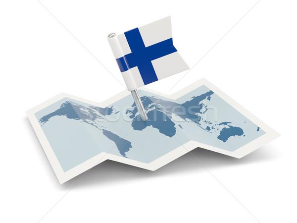 Mapa bandeira Finlândia isolado branco Foto stock © MikhailMishchenko