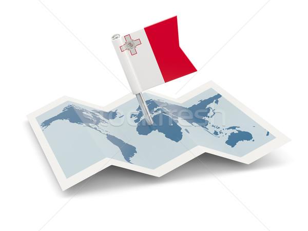 Pokaż banderą Malta odizolowany biały Zdjęcia stock © MikhailMishchenko