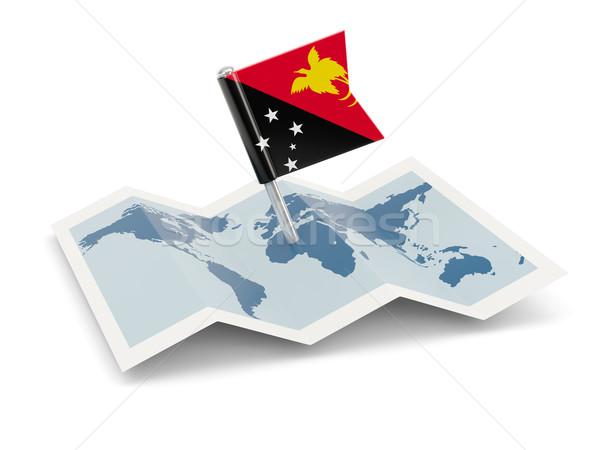 Сток-фото: карта · флаг · Папуа-Новая · Гвинея · изолированный · белый