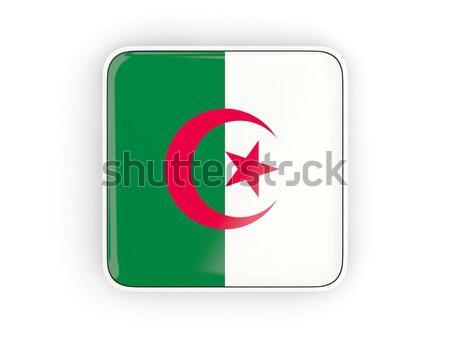 квадратный Label флаг Алжир изолированный белый Сток-фото © MikhailMishchenko