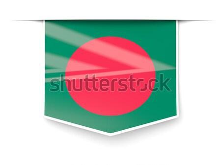 Praça etiqueta bandeira Bangladesh isolado branco Foto stock © MikhailMishchenko