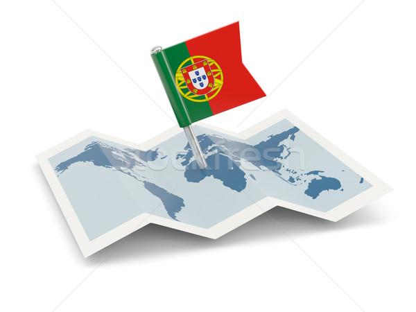 карта флаг Португалия изолированный белый Сток-фото © MikhailMishchenko