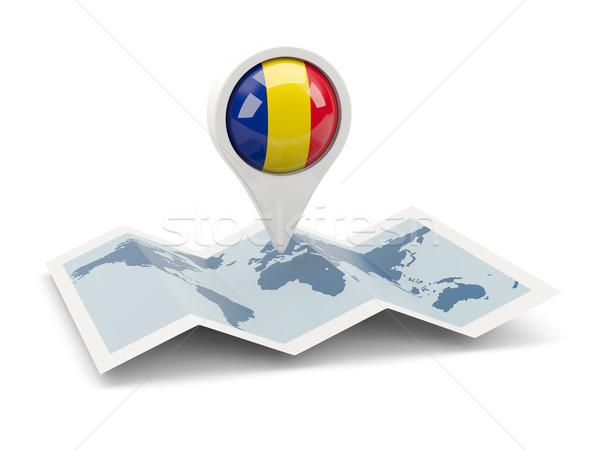Pin bandeira Romênia mapa branco país Foto stock © MikhailMishchenko