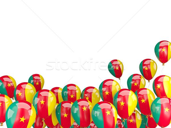 Flying шаров флаг Камерун изолированный белый Сток-фото © MikhailMishchenko