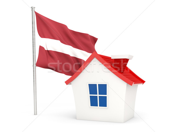 Huis vlag Letland geïsoleerd witte home Stockfoto © MikhailMishchenko