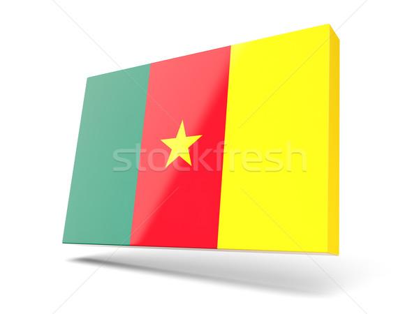 Praça ícone bandeira Camarões isolado branco Foto stock © MikhailMishchenko