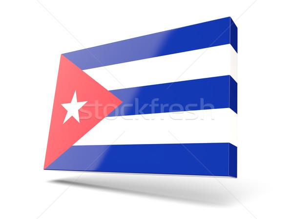 Carré icône pavillon Cuba isolé blanche Photo stock © MikhailMishchenko