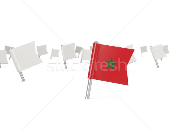 Tér tő zászló Marokkó izolált fehér Stock fotó © MikhailMishchenko