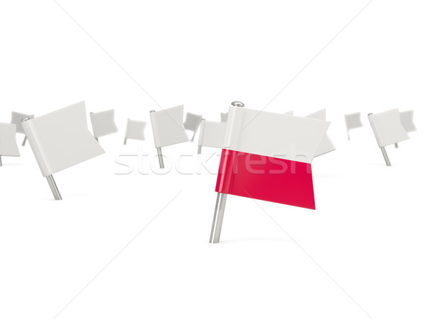 Foto stock: Praça · pin · bandeira · Polônia · isolado · branco