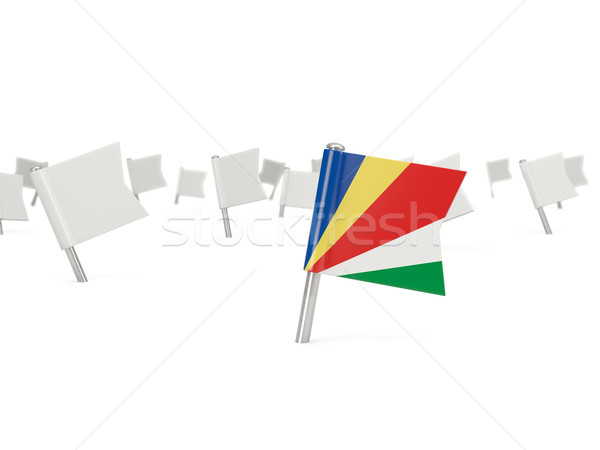Square pin with flag of seychelles Stock photo © MikhailMishchenko